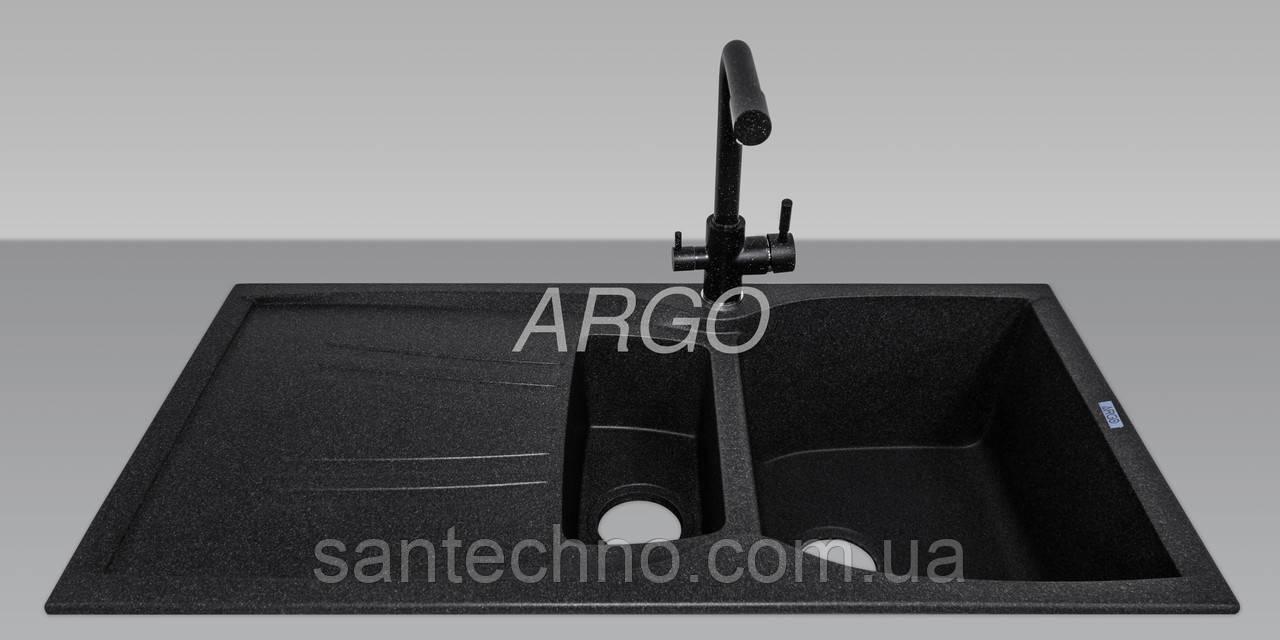 Гранитная прямоугольная кухонная мойка с крылом Argo Medio Plus Black 990*500*235