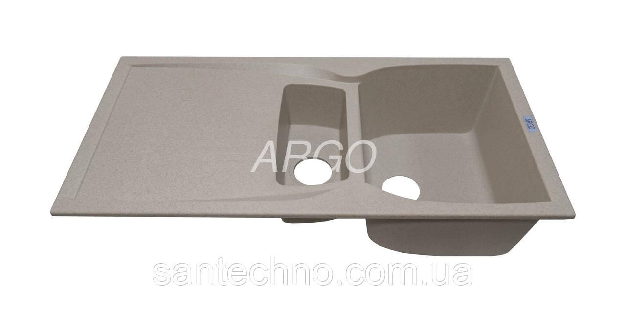 Гранитная кухонная мойка с крылом Argo Medio Plus Terra 990*500*235