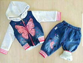 Детский теплый комплект прогулочный для девочки  р.1-4 лет опт