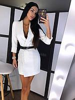 Платье-пиджак Мишель белое с-м