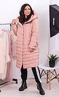 Женское зимнее пальто кокон, длина миди, кофе с молоком, силикон 250,арт 180