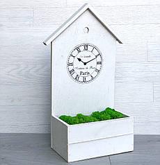 Деревянное стильное кашпо вазон для цветов Часы Домик