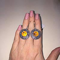 Серьги с янтарем в серебре. Серьги янтарь Индия, фото 1