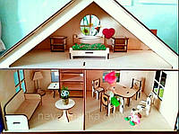 Деревянный Кукольный Домик для Кукол ЛОЛ, дом мебель 2 этажа для куклы LOL ляльковий будиночок 011182