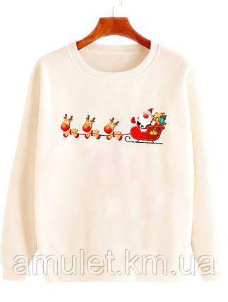 """Женская кофта с принтом  новогодяя   """"Санта с оленями"""", фото 2"""