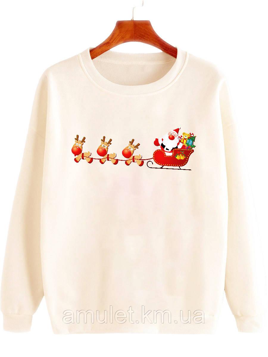 """Женская кофта с принтом  новогодяя   """"Санта с оленями"""""""