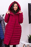 Женская зимняя куртка, длина миди, цвета бордо, наполнитель силикон, арт 180