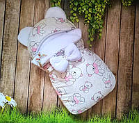 """Зимний конверт-кокон на выписку """"Розовые мишки"""" 42*70 см"""