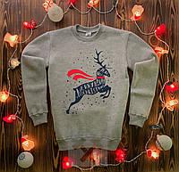 Свитшот новогодний на флисе Oleni  X-grey | Кофта зимняя | ЛЮКС, фото 1