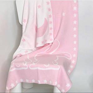 Плед вязанный бело-розовый с зайчиками 90*70 см (100% хлопок)