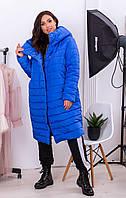 Удлиненная  зимняя куртка кокон  с капюшоном , ярко-синий, арт. 180, фото 1