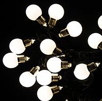 Гирлянда Уличная Лампочки LED 40 Белая, 650 см, черный провод, переходник (1363-03)