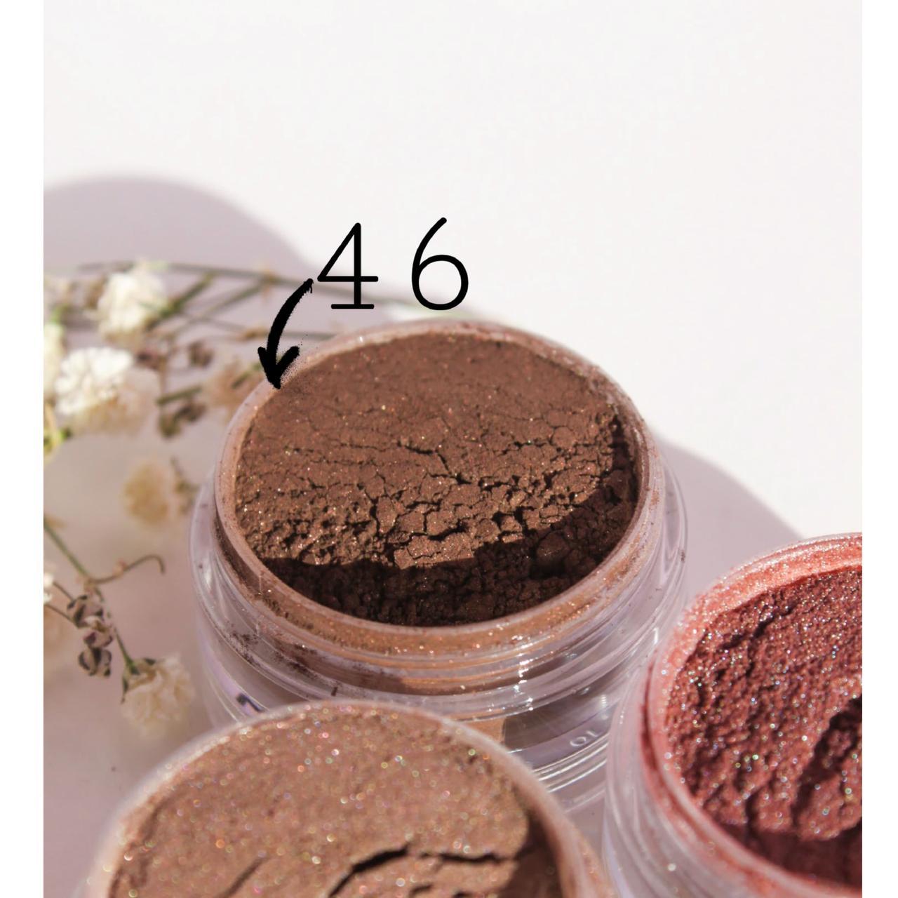 Тени для век  Швейцарский шоколад(46 тон) 5 мл - рассыпчатые из природных минералов, в палитре 54 оттенка!