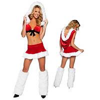 Карнавальный костюм на новый год милая подружка Санты (Снегурочка) с меховой оборкой