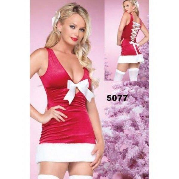 Новоголнее секси платье помощницы Санты (Деда Мороза) + трусики