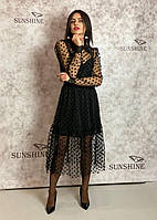Жіноче плаття з сітка, органза-флок Poliit 8673