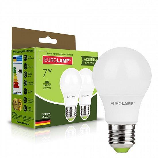 """Мультипак """"1+1"""" LED Лампа Eurolamp A60 7W E27 3000K"""