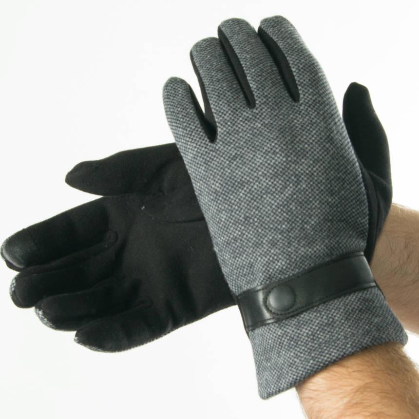 Оптом мужские трикотажные перчатки на плюше   № 19-22-2, фото 2
