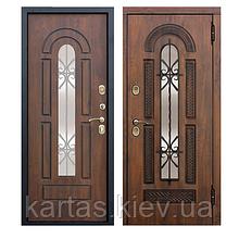 Входная металлическая дверь со стеклопакетом и ковкой Vikont 95mm
