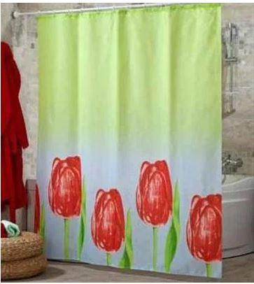 Шторка для ванной  с кольцами Miranda LALE RED  (Турция) 180х200 см