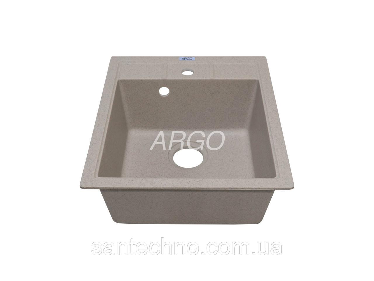 Прямоугольная одночашевая гранитная мойка Argo Bella Terra 460*515*200
