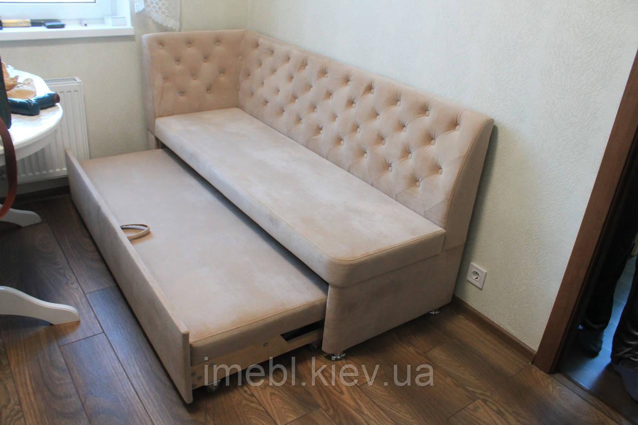 Розкладний вузький кухонний диван (Пудровий)