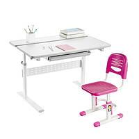 Комплект-трансформер Fundesk парта Colore Grey + стульчик SST3 Pink