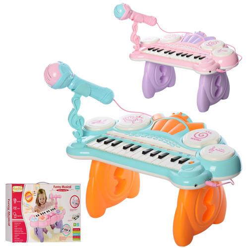 Детский игровой синтезатор HY679-E на ножках микрофон караоке звуковые и световые эффекты