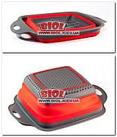Дуршлаг силиконовый складной 21х21см (цвет - красно-серый) Frico FRU-090-1