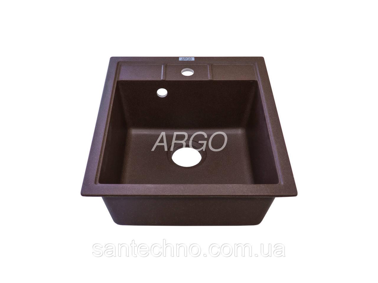 Прямоугольная одночашевая гранитная мойка Argo Bella Brown 460*515*200