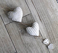 Подвеска тканевая бежевая-Сердца
