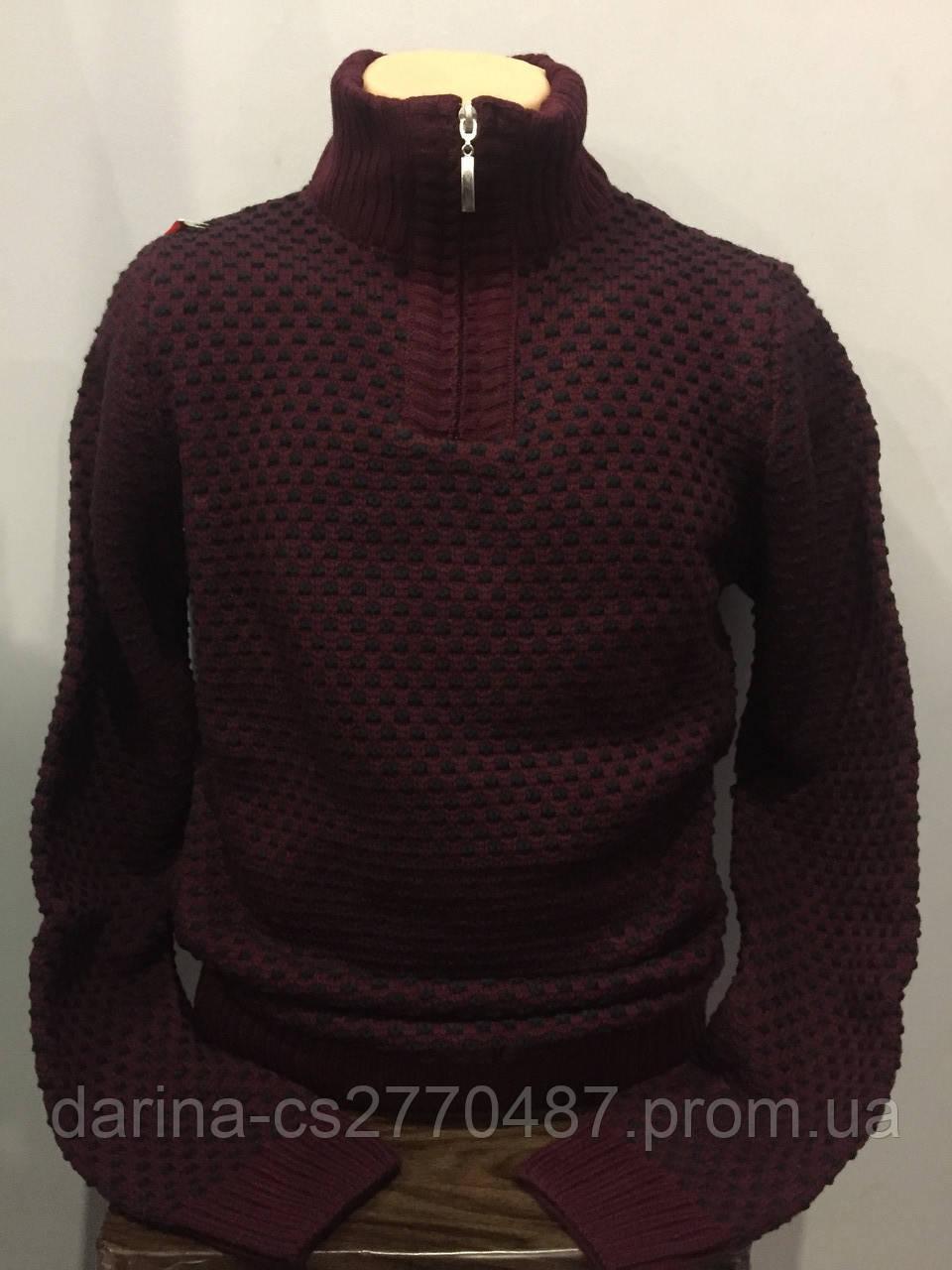 Теплый мужской свитер с высоким воротником на молнии M,L,XL