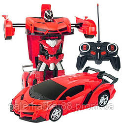 Машинка Трансформер Lamborghini Robot Car Size 1: 18 КРАСНАЯ С ПУЛЬТОМ