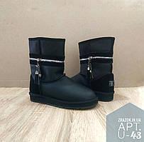 UGG Натуральна шкіра, натуральне хутро уггі жіночі класичні високі черевики високі чорні чобітки шкіряні