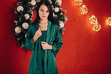 Шелковая ночная сорочка с халатом (изумрудная), фото 3