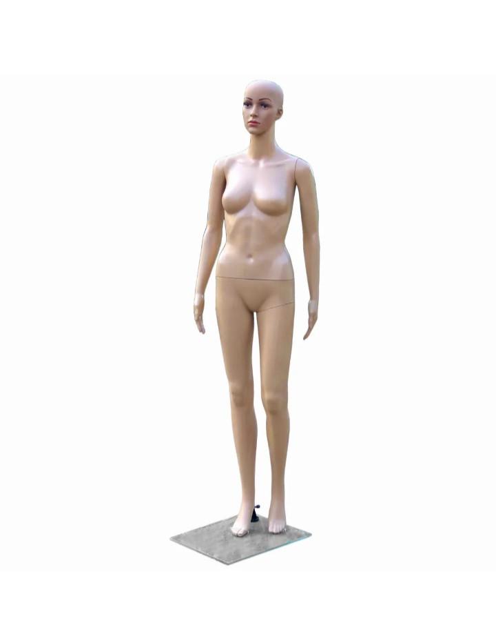 Женский телесный манекен без волос в полный рост на подставке