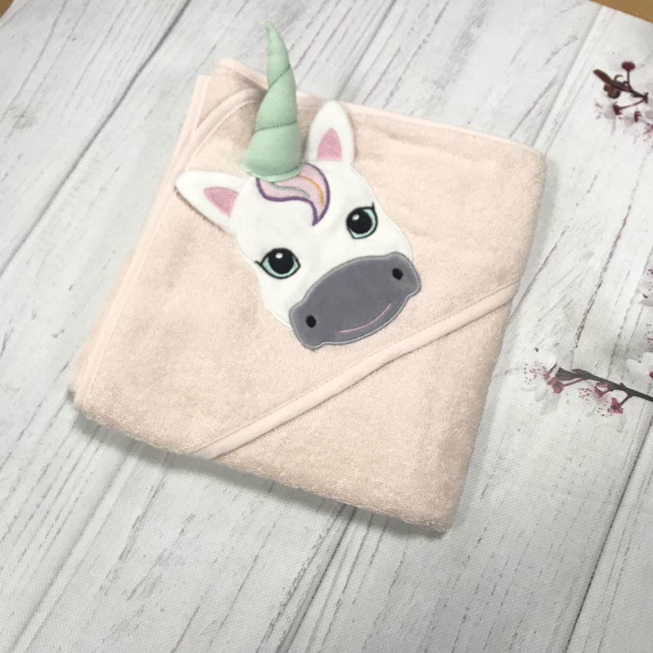 Махровый детский уголок единорог розовый 80*80 см (100% хлопок)