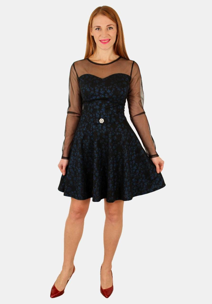 Нарядное платье с юбкой клеш 42-44-46 ( синий, коричневый, серый )