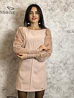 Женское платье из велюр дайвинг Poliit 8668, фото 1