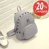 Рюкзак женский городской с шипами (серый)