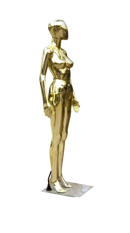 Женский золотой манекен Аватар в полный рост на подставке