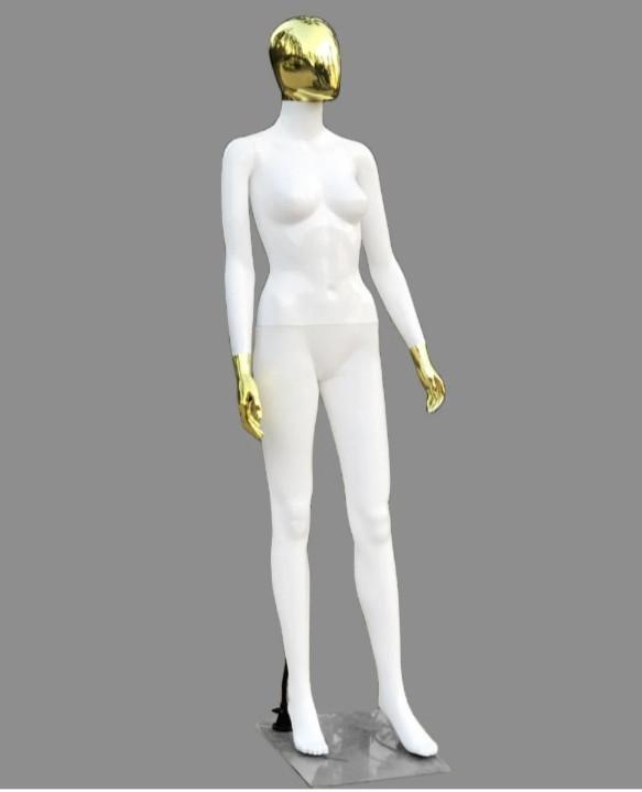 Женский белый манекен Аватар с золотой головой и руками в полный рост на подставке