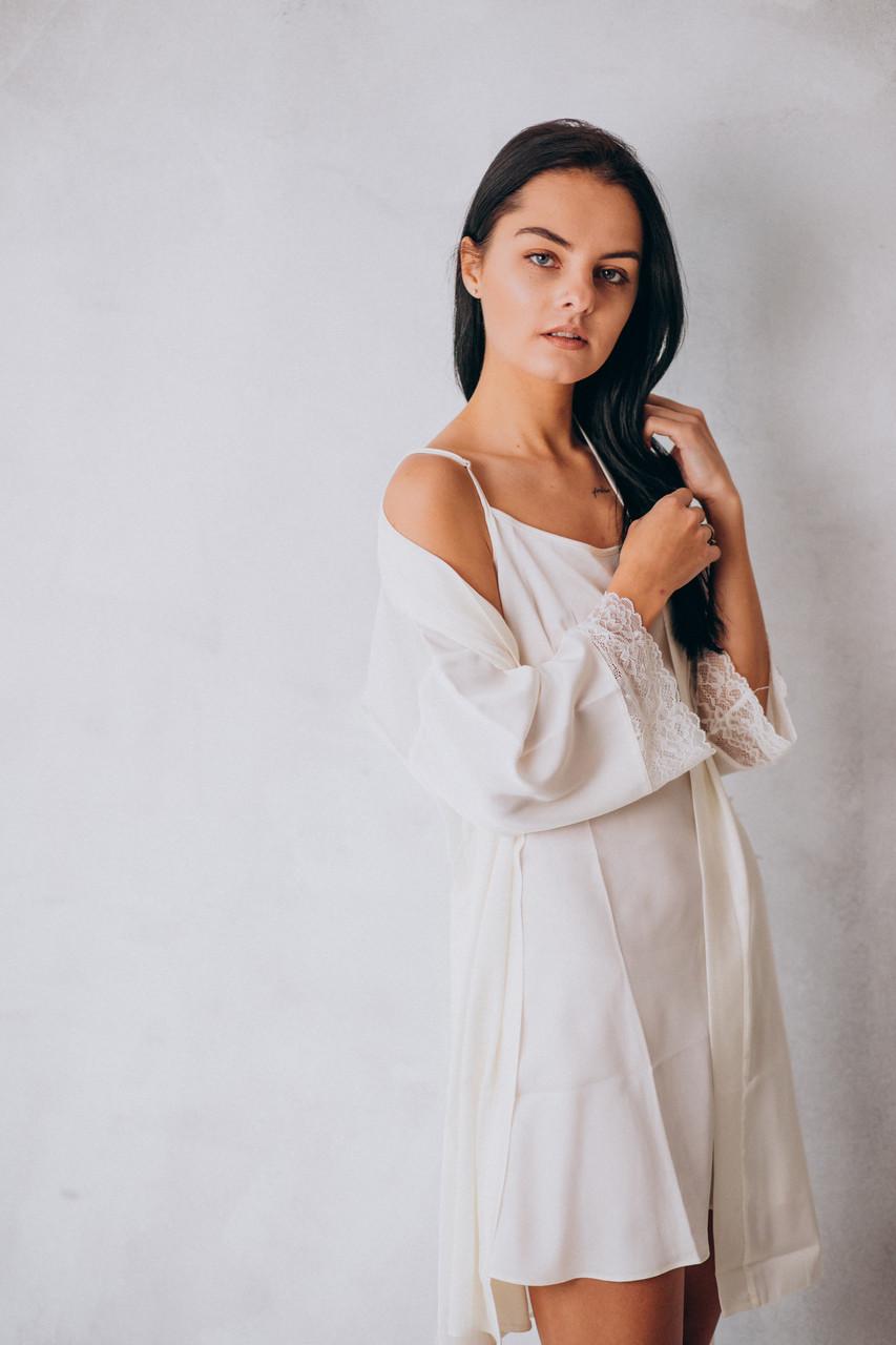 Шелковый комплект на утро невесты: сорочка и халат