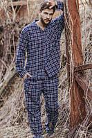 Комплект мужской, пижама в клетку Key MNS 046 синяя, XL