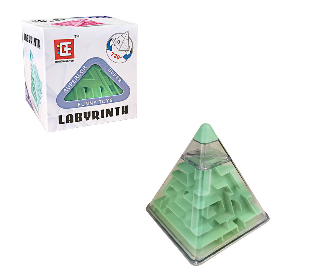 Головоломка 8см F-3(Green) Зелёный лабиринт-пирамида.