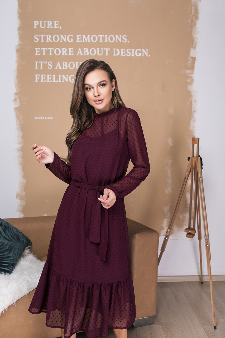 Платье LiLove 035-1 46-48 бордовый