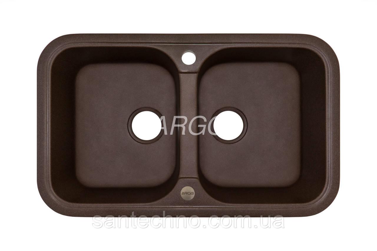 Мойка кухонная гранитная Argo Gemelli Brown 770*470*190