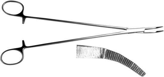 З-3 Затискач кровоспинний зубчатий вертикально-зігнутий 240 мм