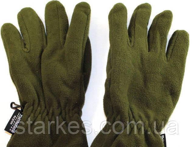 Перчатки флисовые двойные Тинсулейт, цвет Олива, № 18. Польша