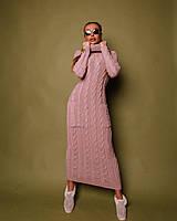 Пудровое женское платье с карманами